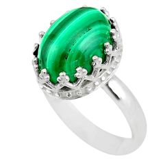 6.84cts crown natural malachite (pilot's stone) silver ring size 8 t43407