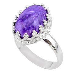 6.29cts crown natural purple charoite (siberian) silver ring size 8 t43391