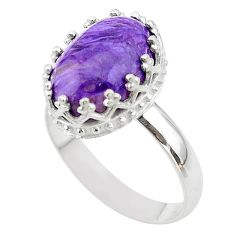 6.27cts crown natural purple charoite (siberian) silver ring size 9 t43389