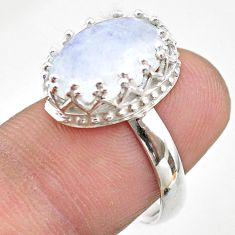 5.92cts crown natural rainbow moonstone oval 925 silver ring size 7 t43420