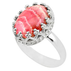 6.27cts crown natural rhodochrosite inca rose 925 silver ring size 7 t43411