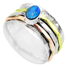 Doublet opal australian 925 silver two tone spinner band ring size 7 t51631