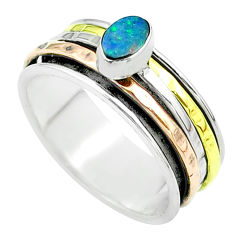 Doublet opal australian 925 silver two tone spinner band ring size 9 t51615