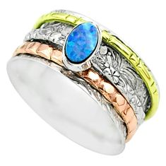 Doublet opal australian 925 silver two tone spinner band ring size 9 t51684
