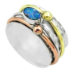 Doublet opal australian 925 silver two tone spinner band ring size 7.5 t51544