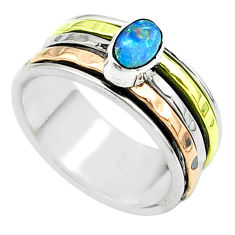 Doublet opal australian 925 silver two tone spinner band ring size 7.5 t51605