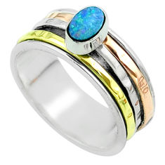 Doublet opal australian 925 silver two tone spinner band ring size 8.5 t51613
