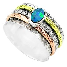 Doublet opal australian 925 silver two tone spinner band ring size 8.5 t51648