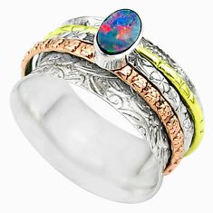 Doublet opal australian 925 silver two tone spinner band ring size 7.5 t51699