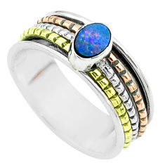 Doublet opal australian 925 silver two tone spinner band ring size 8.5 t51889