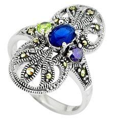 Edwardian blue sapphire purple amethyst 925 sterling silver ring size 7 c17553