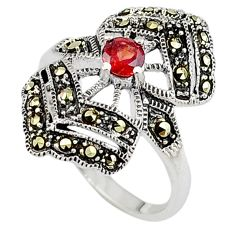Edwardian red garnet swiss marcasite 925 sterling silver ring size 6.5 c17426