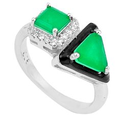4.60cts emerald (lab) topaz enamel 925 silver solitaire ring size 5.5 c23573