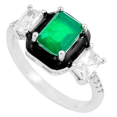 3.42cts emerald topaz (lab) enamel 925 silver solitaire ring size 6 c23576