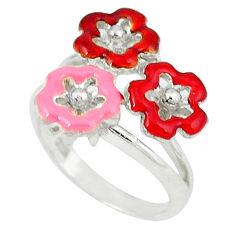 6.25gms enamel 925 sterling silver flower ring jewelry size 7.5 c18623