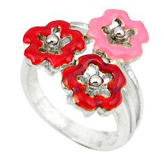 5.89gms enamel 925 sterling silver flower ring jewelry size 6.5 c18625