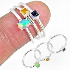 2.02cts ethiopian opal citrine iolite silver 3 stackable ring size 6 r59894