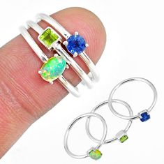 2.34cts ethiopian opal peridot sapphire silver 3 stackable ring size 6.5 r59919
