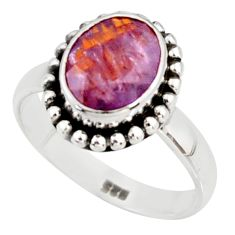 4.45cts faceted cacoxenite super seven 925 silver solitaire ring size 8.5 r37886