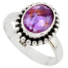 4.46cts faceted cacoxenite super seven 925 silver solitaire ring size 8 r37891