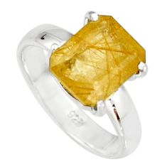 3.87cts faceted golden rutile 925 sterling silver solitaire ring size 6 r19151