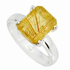 4.08cts faceted golden rutile 925 sterling silver solitaire ring size 7 r19141