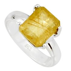 4.06cts faceted golden rutile 925 sterling silver solitaire ring size 7 r19142