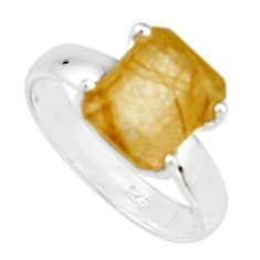 4.08cts faceted golden rutile 925 sterling silver solitaire ring size 7 r19145