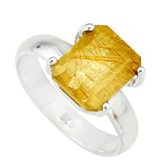 4.01cts faceted golden rutile 925 sterling silver solitaire ring size 7 r19154