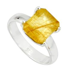 4.06cts faceted golden rutile 925 sterling silver solitaire ring size 7 r19155