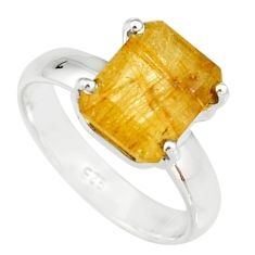 4.08cts faceted golden rutile 925 sterling silver solitaire ring size 7 r19157