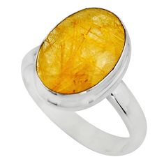6.03cts faceted golden tourmaline rutile silver solitaire ring size 7.5 r53662