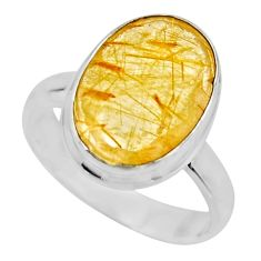 6.03cts faceted golden tourmaline rutile silver solitaire ring size 6.5 r53665
