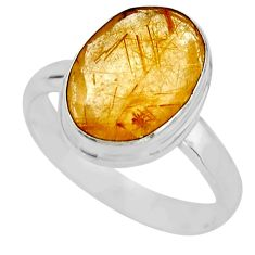 6.39cts faceted golden tourmaline rutile silver solitaire ring size 8.5 r53667