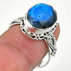 6.48cts faceted natural blue labradorite 925 silver handmade ring size 8 t44841