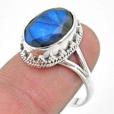 6.83cts faceted natural blue labradorite 925 silver ring size 8.5 t44821