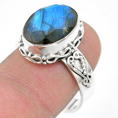 7.07cts faceted natural blue labradorite 925 silver ring size 8.5 t44825