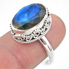 6.63cts faceted natural blue labradorite 925 silver ring size 8.5 t44833
