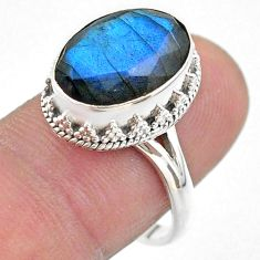 7.00cts faceted natural blue labradorite 925 silver ring size 8.5 t44837