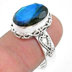 7.04cts faceted natural blue labradorite 925 silver ring size 8.5 t44839