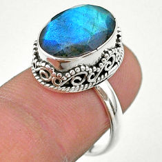 6.41cts faceted natural blue labradorite 925 silver ring size 7.5 t44846