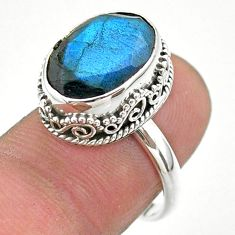6.63cts faceted natural blue labradorite oval 925 silver ring size 7 t44849
