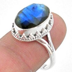 6.04cts faceted natural blue labradorite oval 925 silver ring size 8 t44822