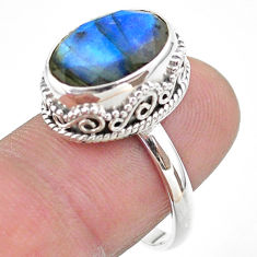 6.85cts faceted natural blue labradorite oval 925 silver ring size 8 t44830