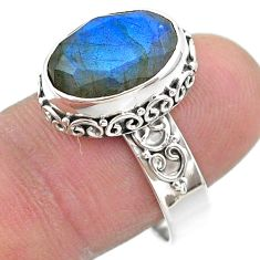 6.83cts faceted natural blue labradorite oval 925 silver ring size 8 t44834