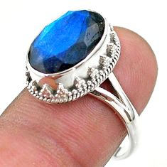 6.83cts faceted natural blue labradorite oval 925 silver ring size 8 t44844