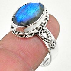 6.83cts faceted natural blue labradorite oval 925 silver ring size 8 t44850