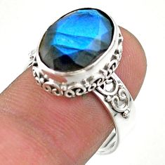6.30cts faceted natural blue labradorite oval 925 silver ring size 8 t44852