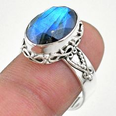 6.48cts faceted natural blue labradorite oval 925 silver ring size 8 t44853