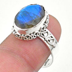 6.30cts faceted natural blue labradorite oval 925 silver ring size 8 t44857
